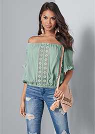 Cropped front view Off Shoulder Crochet Top