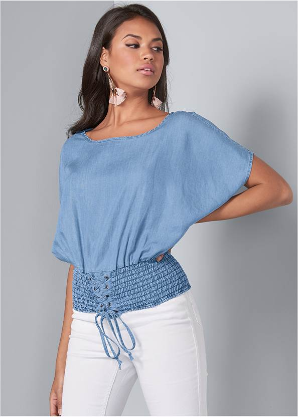 Cropped front view Tie Front Chambray Top