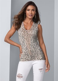 Cropped front view Snake Print Sweater Tank