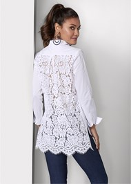 Cropped back view Lace Back Blouse