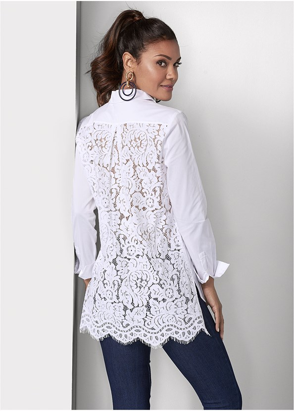 Lace Back Blouse,Mid Rise Slimming Stretch Jeggings,Lucite Detail Heels,Color Block Hoop Earrings