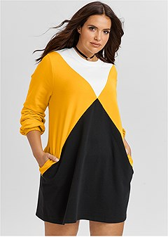 plus size color block lounge dress