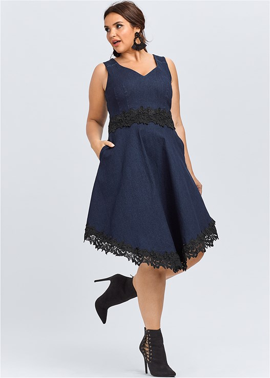 DENIM LACE DRESS,LACE UP BOOTIE,STRUCTURED HANDBAG