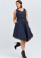 plus size denim lace dress