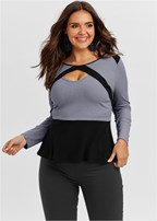 plus size color block peplum top