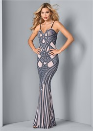 Front View Embellished Long Dress