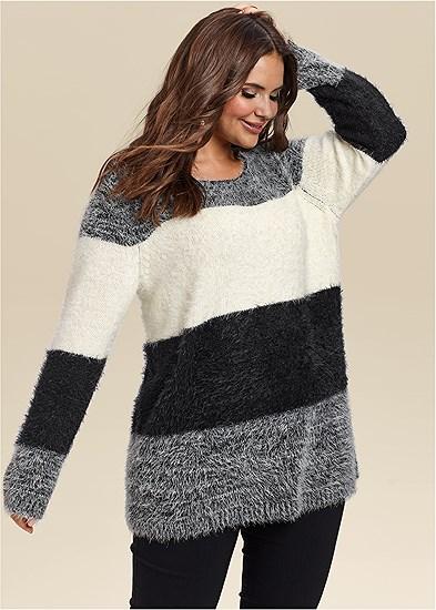 Plus Size Striped Cozy Sweater