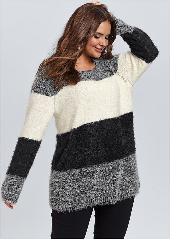 Striped Cozy Sweater,Mid Rise Slimming Stretch Jeggings,Block Heel Boots