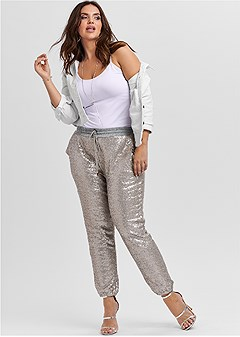 plus size sequin jogger pants