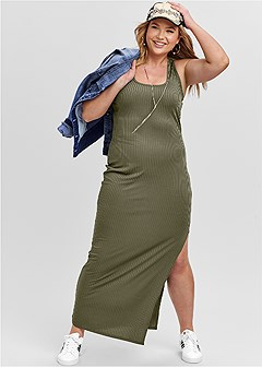 plus size ribbed tank maxi dress
