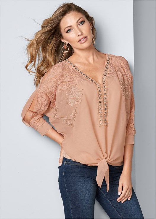 LACE DETAIL TIE FRONT TOP,COLOR SKINNY JEANS,LUCITE HEEL MULES