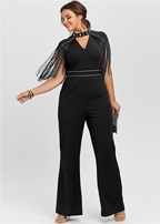 plus size fringe detail jumpsuit