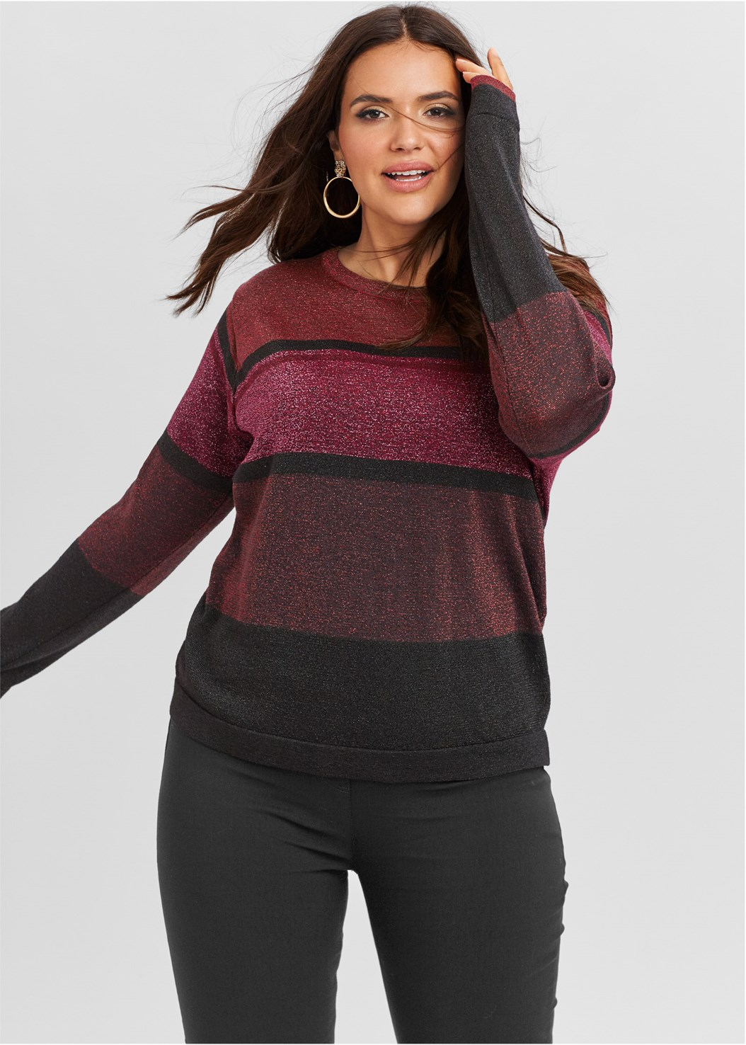 Color Block Sweater,Mid Rise Full Length Slimming Stretch Jeggings,Tiger Detail Earrings,Lurex Detail Scarf
