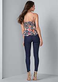 Full back view Floral Lace Peplum Top