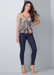 Full front view Floral Lace Peplum Top