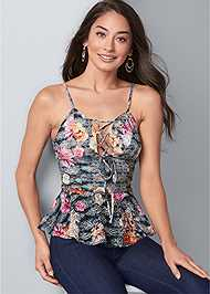 Cropped front view Floral Lace Peplum Top