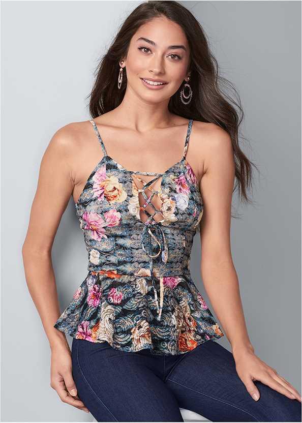 Floral Lace Peplum Top,Mid Rise Slimming Stretch Jeggings,Embellished Heels,Beaded Hoop Earrings