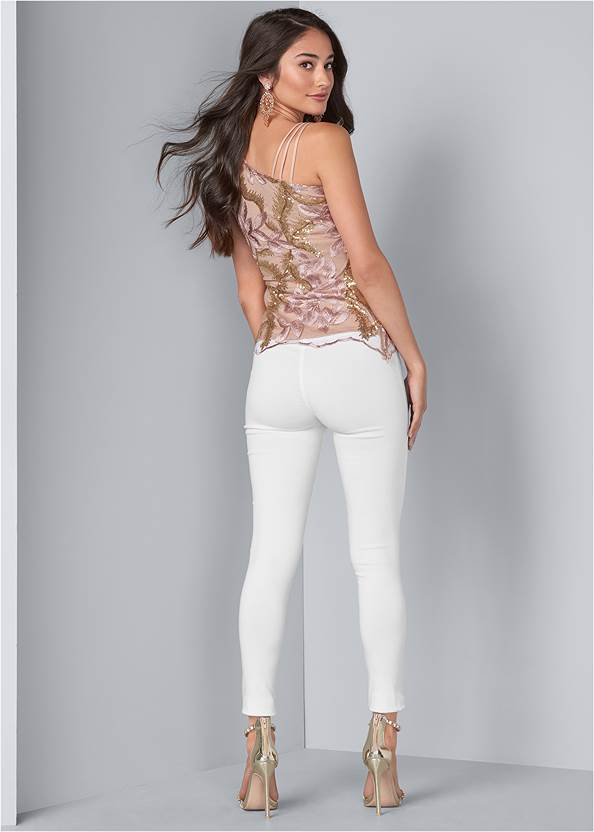 Full back view Embroidered Floral Blouse