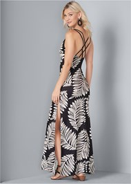 Detail back view Palm Print Maxi Dress