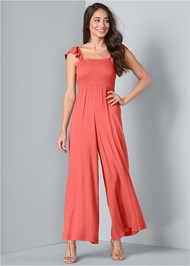 Full front view Wide Leg Smocked Jumpsuit