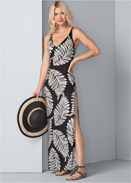 Detail front view Palm Print Maxi Dress