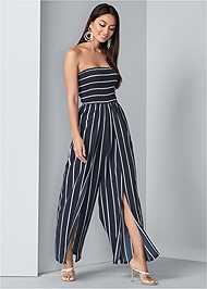 Front View Smocked Strapless Jumpsuit