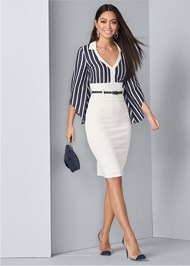 Detail front view Twofer Collared Midi Dress