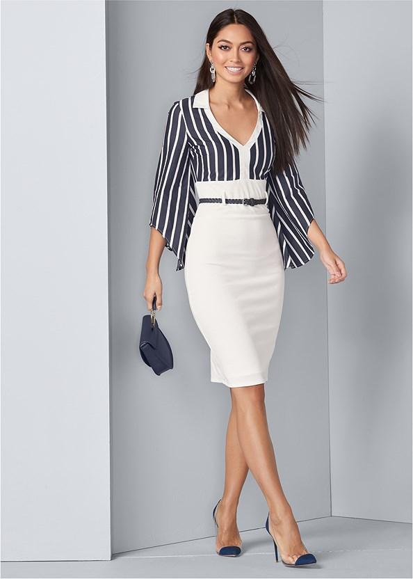 Twofer Collared Midi Dress,Push Up Bra Buy 2 For $40,Lucite Detail Heels,Circle Detail Handbag