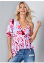 Cropped front view One Shoulder Floral Top