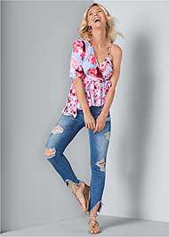 Full front view One Shoulder Floral Top