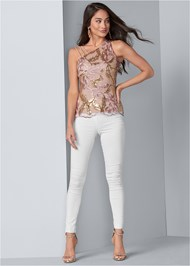 Full front view Embroidered Floral Blouse