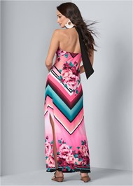 Full back view Geometric Floral Print Maxi