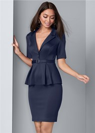 Cropped front view Ruffle Waist Belted Dress