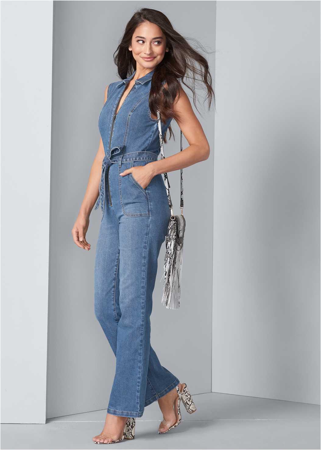 Denim Jumpsuit,Lucite Detail Print Heels,Fringe Crossbody,Studded Belt Bag