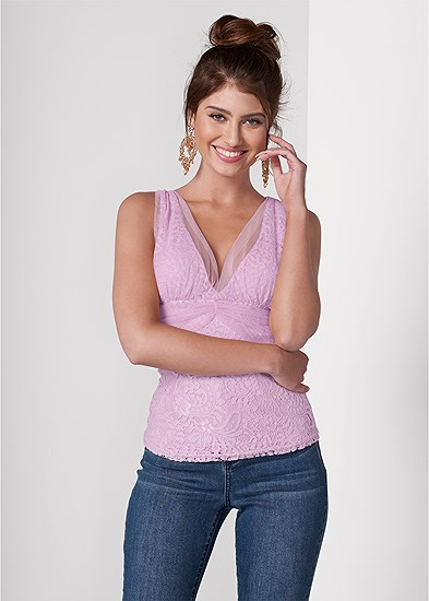 Mesh Overlay Lace Top