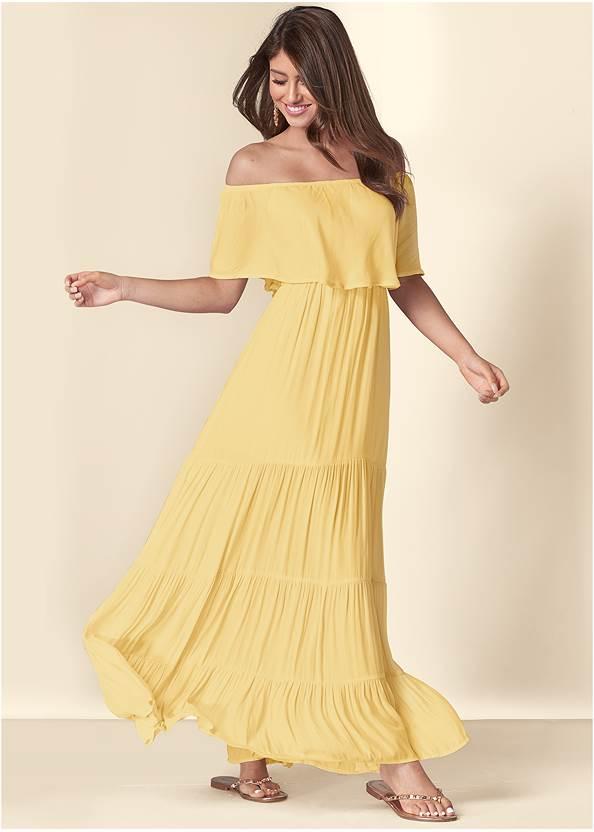 Tiered Maxi Dress,Transparent Studded Heels,Studded Flip Flops,Shell Detail Bracelet Set