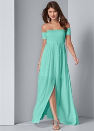 Front View Smocked Detail Maxi Dress