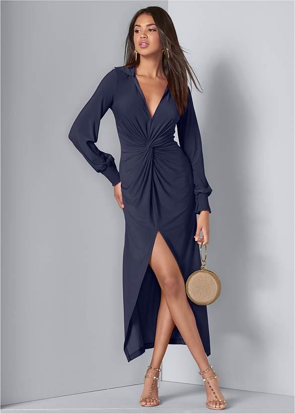 Maxi Shirt Dress,Transparent Studded Heels,Layered Long Necklace,Ring Handle Circle Clutch