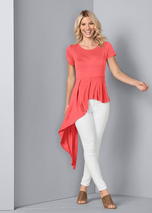 Asymmetrical Top,Mid Rise Color Skinny Jeans