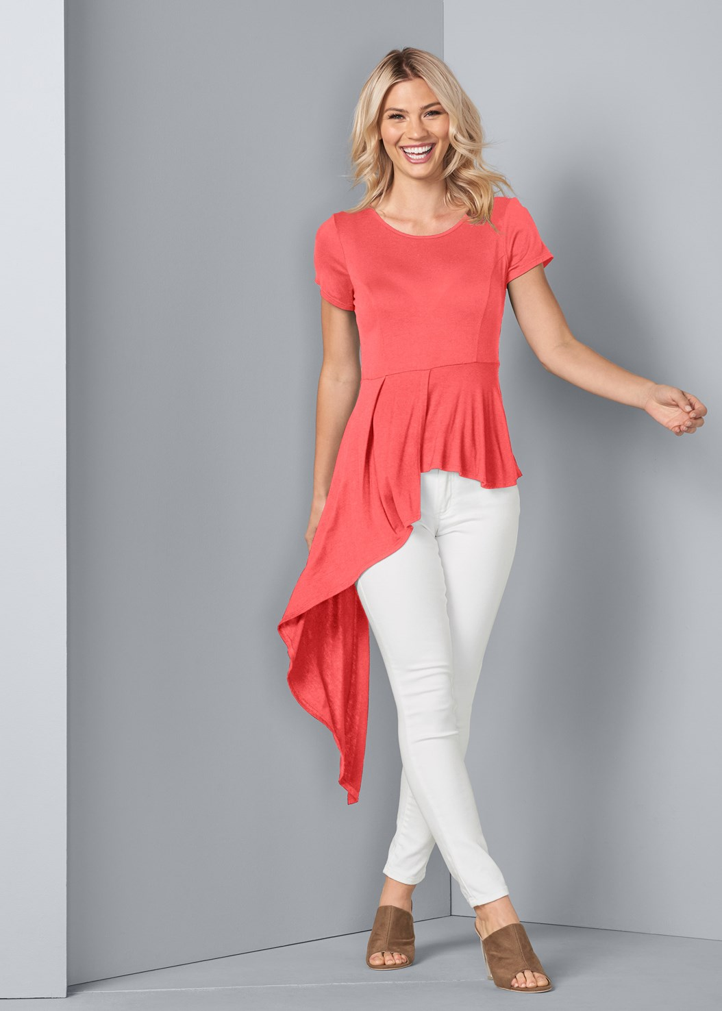 Asymmetrical Top,Color Skinny Jeans,Lucite Heel Mules