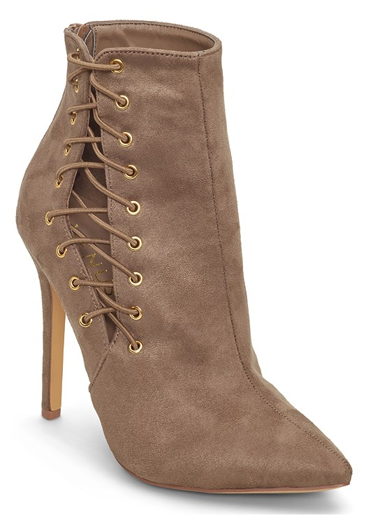 LACE UP BOOTIE,COLOR SKINNY JEANS