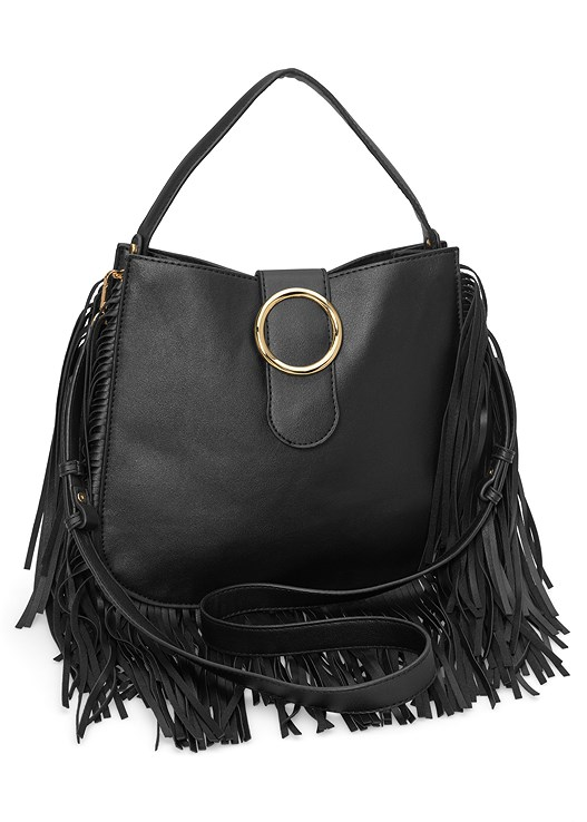 FRINGE HANDBAG,GOLD TRIM MAXI DRESS,LAYERED COIN DETAIL CHOKER