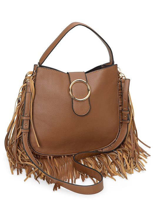 FRINGE HANDBAG,TIE FRONT HIGH LOW TOP,ROSE EMBROIDERED JEANS