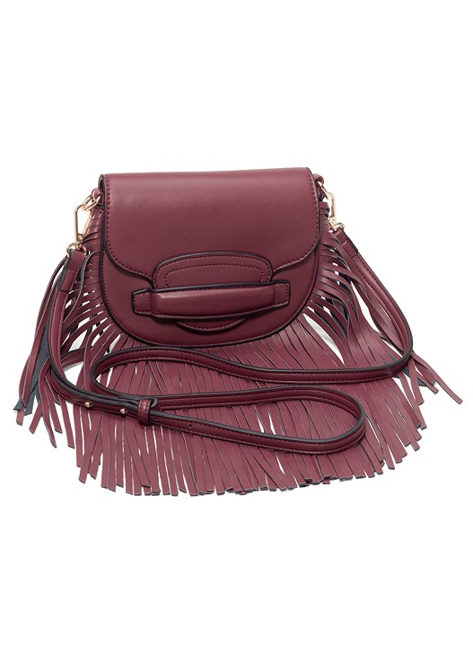 FRINGE CROSSBODY,LACE UP DETAIL PRINT DRESS
