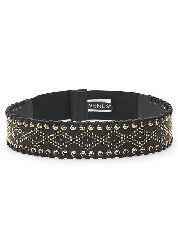 Embellished Waist Belt,Long And Lean V-Neck Tee,Reversible Jeans,Quilted Belt Bag
