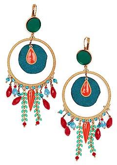 multi color fringe earrings