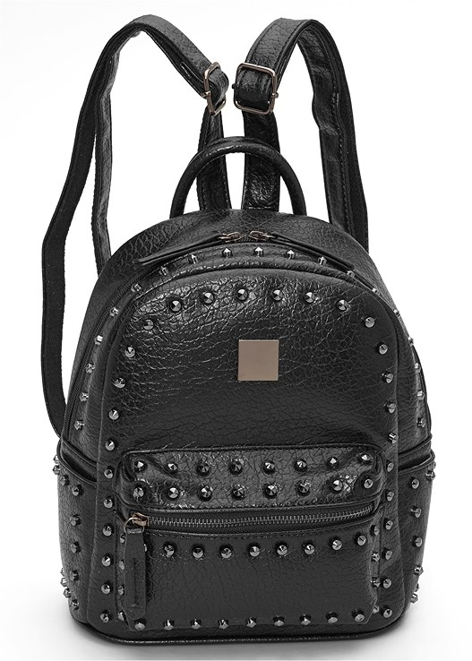 STUD DETAIL BACKPACK,PYTHON PRINTED SLEEVE DRESS,LACE UP BOOTIE