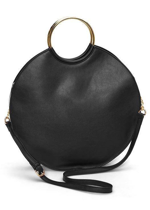 RING DETAIL OVERSIZED BAG,STRIPE PRINT SWEATER DRESS,BUCKLE DETAIL BOOTS,BEADED TASSEL EARRINGS
