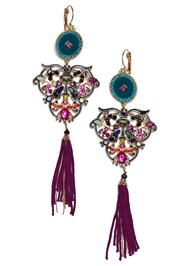 Flatshot  view Medallion Fringe Earrings
