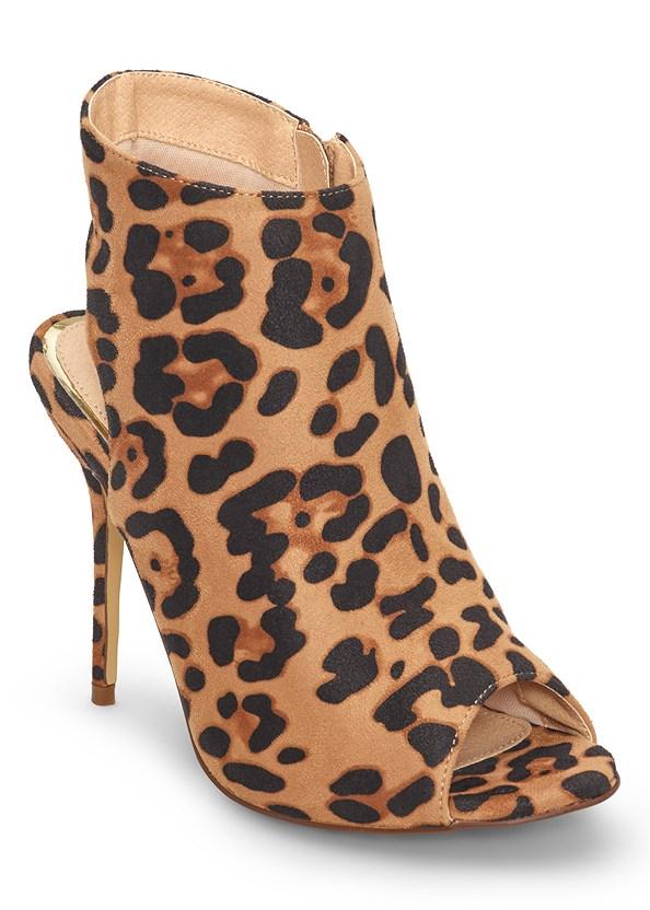 Peep Toe Print Heels,Cut Out Ribbed Dress,Square Hoop Earrings